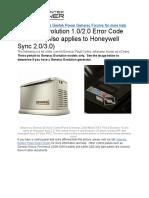Generac Error Code Fault Guide ECodes
