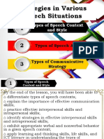 Strategies in Various Speech Situations