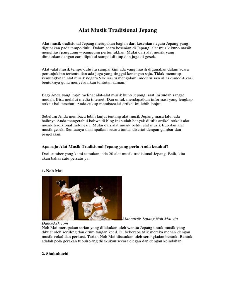 Alat Musik Tradisional Jepang Merupakan Bagian Dari Kesenian