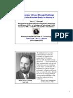 John P. Holdren, Rose Lecture at MIT
