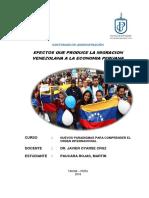 Trabajo Final,Efectos Que Produce La Migracion Venezolana a La Economia Peruana