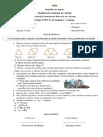 1.ª Prova de Matemática 7.ª Classe 2019