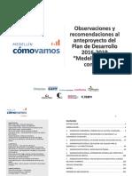 """Observaciones Al Anteproyecto Del Plan de Desarrollo 2016-2019- """"Medellín Cuenta Con Vos"""