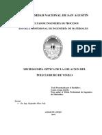 MICROSCOPIA OPTICA DE LA GELACION DEL POLICLORURO DE VINILO