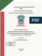 Los Programas Del Sistema Penitenciario y La Rehabilitacion Social de Los Internos Del Inpe de San Antonio - Pocollay, Periodo 2018(1)