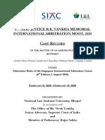 Case-Record NLIU SIAC LL-Partners Justice R.K.- Tankha Memorial International Moot 2020