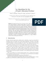 [Abraham Et Al., 2003] Two Algorithms for the Student-Project Allocation Problem