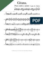 Gitana Canción Para Piano de Luis A Calvo