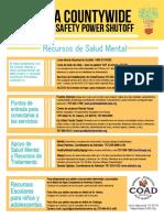 Napa County PSPS Mental Health Resources Spanish-2019
