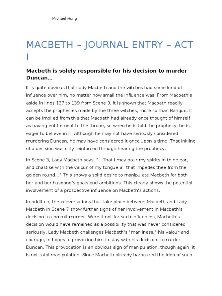 macbeth act 1 journal for lady