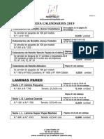 Tarifa Calendarios 2020