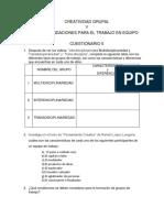Cuestionario 5, Creatividad Grupal y Recomendaciones Para El Trabajo en Equipo