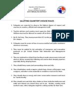Billeting Quarters House Rules