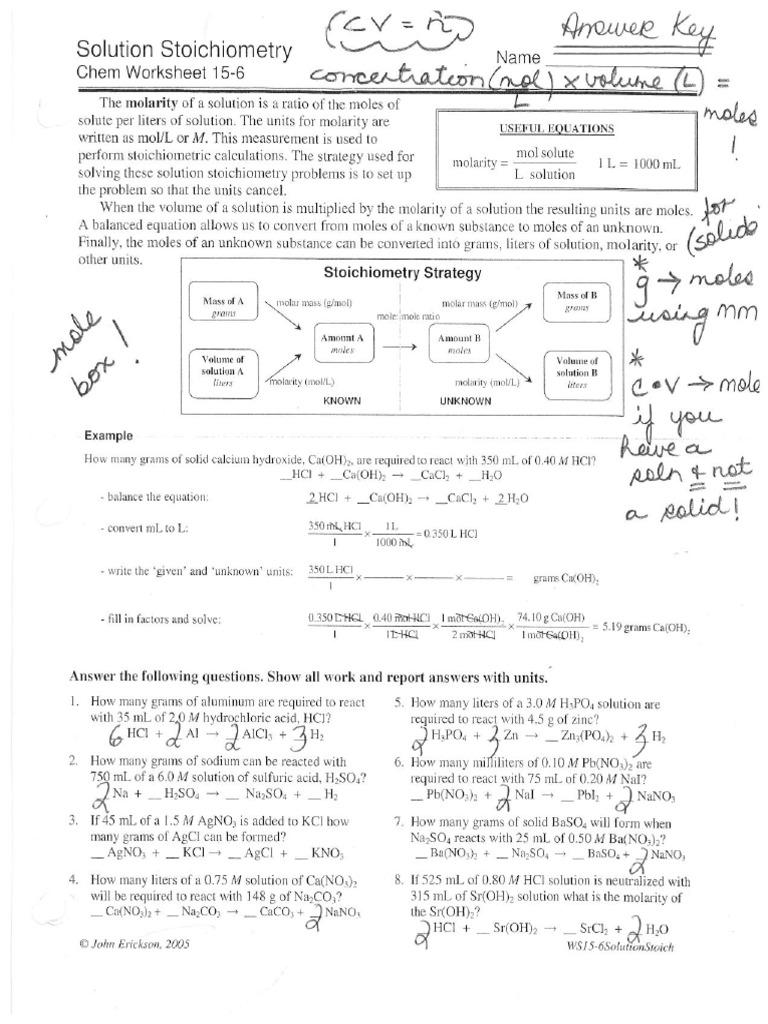 Solution Stoichiometry Chem Worksheet 15-6 Answer Key