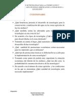 Cuestionario -MENDEZ Y ROJAS-tecnologias Para La Conservacion y Reutilizacion Del Agua