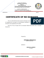 certificate of no damages in earthquake