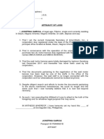 Affidavit of Loss - Documents