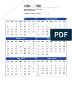 2019 Calendar - India