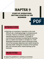 CHAPTER 9 Start-up Operations, Getting Started in the Business