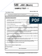 Jee Main Sample Test 1 With Ans Key