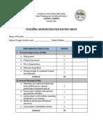Teaching Demo Rating Sheet