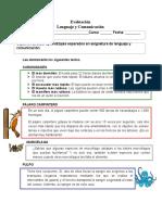 Evaluación Lenguaje y Comunicación