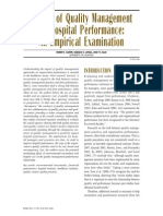 Impact of Quality Management on Hospital Performance an Empirical Investigation
