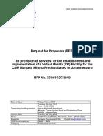 RFP No. 3310-16!07!2019 Virtual Reality Facility