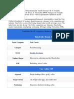 SWOT analysis of Tata Coffee analyses the brand.docx