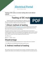 Testing of Dc Motor