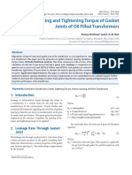 Fastener Spacing and Tightening Torque of Gasket Joints of Oil Filled Transformers