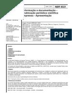 NBR 06021 - Informação e Documentação - Publicação Periódica Científica Impressa - Apresentação