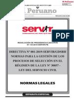 DIRECTIVA N° 001-2019-SERVIR, NORMAS PARA LA GESTION DE SELECCION 30057