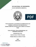Evaluación de La Eficiencia de Remoción de Un Humedal Artificial en Función de La Granulometría de Grava en El Medio Filtrante