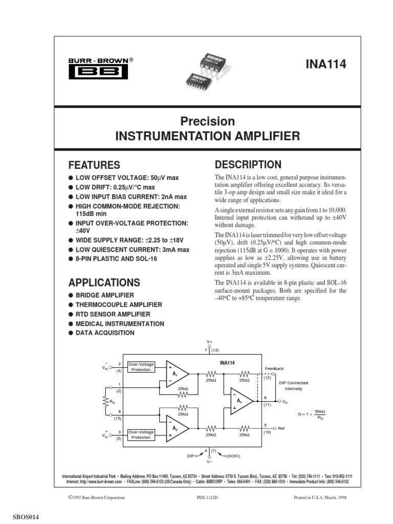1 PC INA114BP Precision INSTRUMENTATION AMPLIFIER DIP