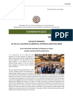 Newsletter of the Ecumenical Patriarchates Permanent Delegation to the WCC October 2019