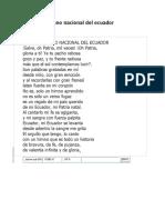 Poema Al Himno Nacional Del Ecuador