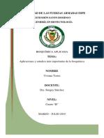 Aplicaciones y Estudios Más Importantes de La Bioquímica