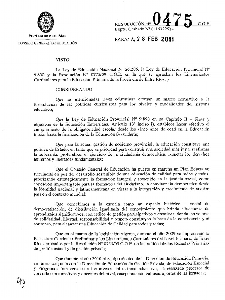 Resolucion 475 11 Diseño Curricular Educacion Primaria Pdf