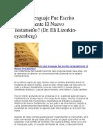En Qué Lenguaje Fue Escrito Originalmente El Nuevo Testamento
