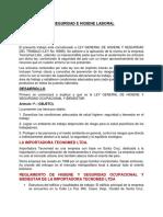 REGLAMENTO DE SEGURIDAD E HIGIENE LABORAL
