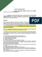 Edital Convocação Concurso Publico Camara 001-2017