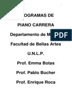 Programas de Piano Carrera Facultad de Bellas Artes