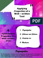 Applying Properties of a Well–Written Text