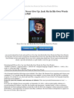 Never Give Up Jack Ma in His Own Words in Their Own Words