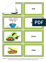 Cooking Verbs Esl Vocabulary Game Cards for Kids