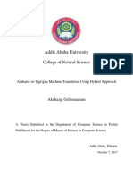 Amharic-To-Tigrigna Machine Translation Using Hybrid Approach