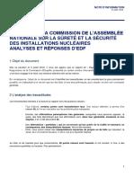 Analyses et réponses d'EDF suite au rapport de la commission de l'Assemblée nationale sur la sûreté et la sécurité des installations nucléaires