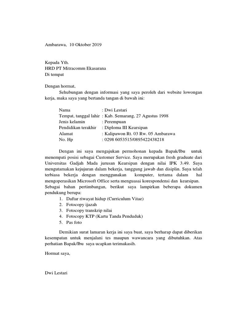 Surat Lamaran Kerja Pt Mitracomm