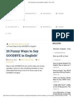 Twenty  Funny Ways to Say GOODBYE in English